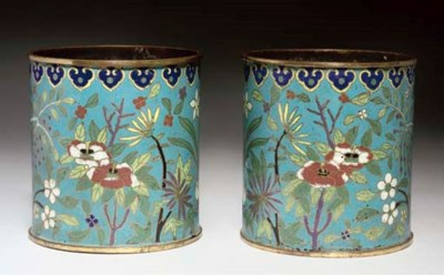 A pair of cloisonne cylindrica