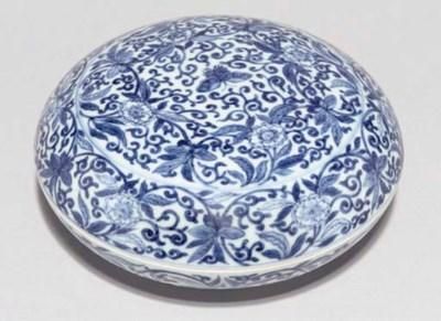 A blue and white circular box