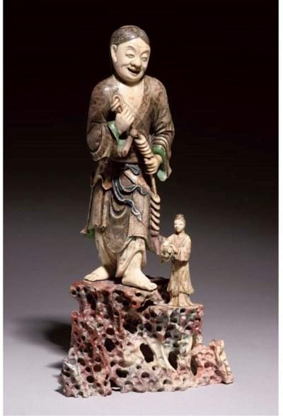 A soapstone figure of Liu Hai,