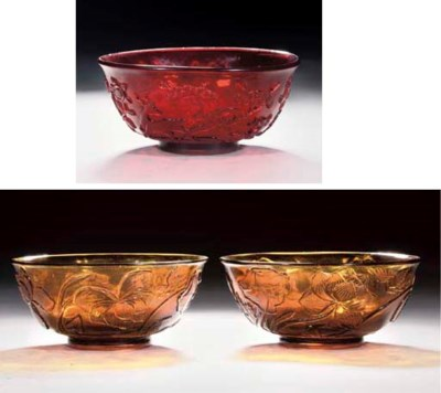 A pair of transluscent amber g