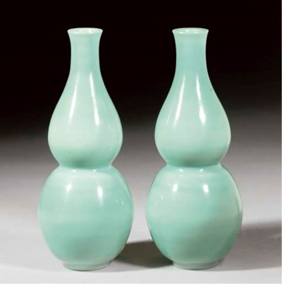 A pair of opaque turquoise dou