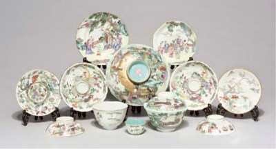 A famille rose octagonal bowl