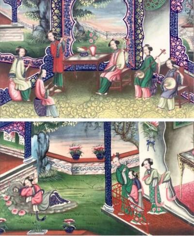 Ten Export ricepaper paintings