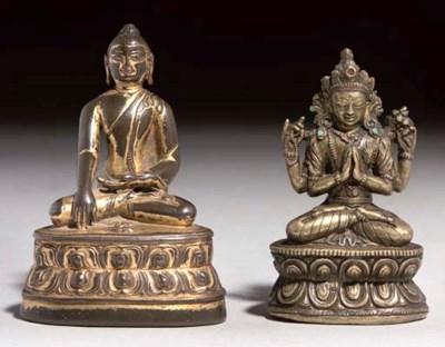 A Tibetan gilt bronze figure o