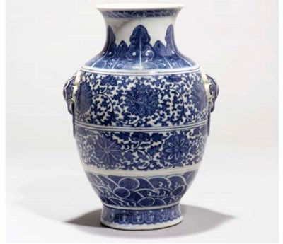A Blue and white vase, Hu, 19t