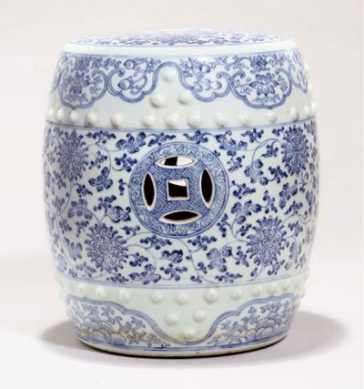 A blue and white garden seat,