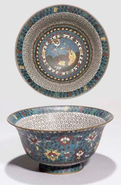A cloisonne enamel bowl, 17th