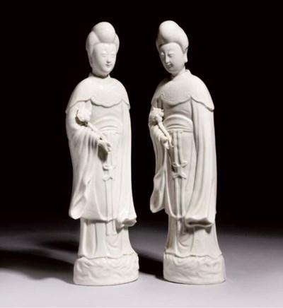 A pair of blanc de chine figur