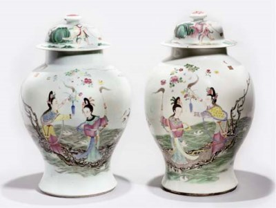 Two famille rose vases and cov