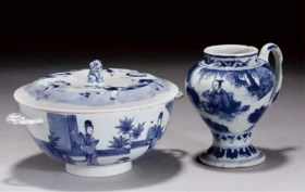 A Chinese blue and white bowl and cover, Kangxi and a mustar