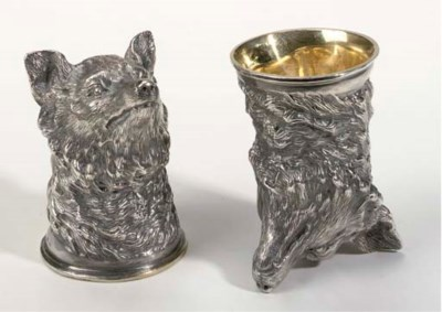 A pair of small German silver