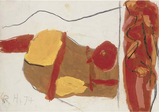 § Roger Hilton (British, 1911-1975) Nude signed lower left