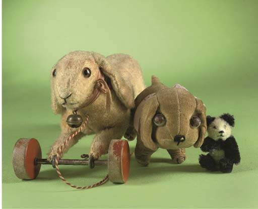 A Steiff rabbit on wheels