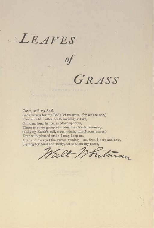 WHITMAN, Walt (1819-92).  Comp