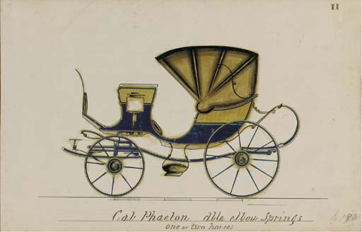 """CARRIAGE DESIGNS -- An oblong 4° (125 x 195mm) album of 21 fine onlayed coloured carriage designs by the carriage-maker C. L. Birch, each numbered in gilt (lacking numbers 9, 16 and 22) and titled in manuscript with an indication of the number of horses required, some priced in pencil, tissue guards, hinged throughout, [mid-19th-century]. Contemporary diced calf gilt with silver clasp, the upper cover stamped in gilt """"C. L. Birch, Great Queen Street, Lincolns Inn Fields"""" (rebacked preserving old spine). Provenance: A. W. Stocken & J. F. Stocken (early signatures on front pastedown) -- Mark Dineley (armorial bookplate) -- Col. Alexander (early pencil signature on rear endpaper)."""