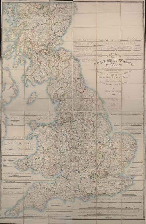 """WYLD, James (1812-87).  Railway Map of England, Wales and Scotland, Drawn from the Triangulation of the Ordnance Survey, the Survey of the Railway Companies, And other information, Shewing the Lines of Railways With their Stations & Sections of Railways, the Inland Navigation, Great and Cross Roads, Cities, Market Towns & Villages. London: James Wyld, [c.1850]. Large folding engraved map in 96 sections mounted on 4 linen-backed sheets, hand-coloured in outline, numerous railway profiles (a few small isolated stains), each sheet 1,030 x 670mm., folding into original cloth case with printed paper label (lightly rubbed). Provenance: """"W. P. Kenyon, from Leaton Knolls sale, Sept 1947"""" (inscription on verso of one sheet) -- some inconspicuous later annotation and coloured pen marking. A FINE COPY OF A RARE MAP."""