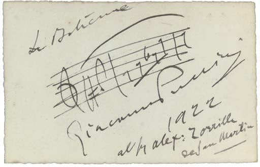 PUCCINI, Giacomo (1858-1924). Autograph musical quotation signed ('Giacomo Puccini'), n.p., 1922, entitled 'La Boheme', the phrase, 'Mi chiamano Mimi', 3 bars on a single hand-drawn stave, inscribed to 'Sig. Alex: Zorrilla de San Martin', one page, 90 x 140mm, framed and glazed.