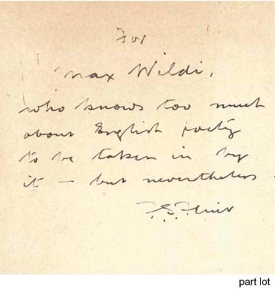 FLINT, F. S. (1888-1960).  Oth
