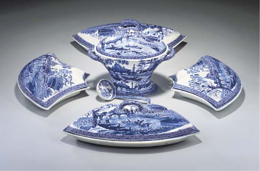 A SPODE POTTERY BLUE AND WHITE BREAKFAST-SET