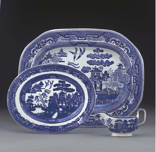 A RILEY'S SEMI-CHINA BLUE AND WHITE DEEP OVAL BOWL AND A COLLECTION OF OTHER STAFFORDSHIRE BLUE AND WHITE WARES