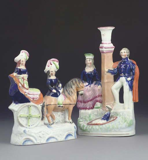 A STAFFORDSHIRE POTTERY GROUP OF THE PRINCE AND PRINCESS IN A PONY CART, A CANDLESTICK GROUP OF VICTORIA AND ALBERT AND A PAIR OF EQUESTRIAN FIGURES OF ALBERT AND QUEEN