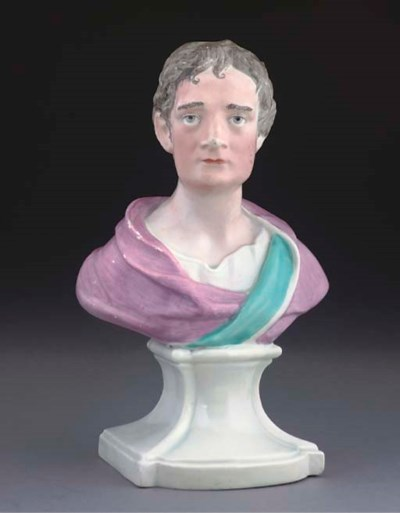 AN ENGLISH PORCELAIN BUST OF S