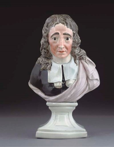 AN ENGLISH PEARLWARE BUST OF J
