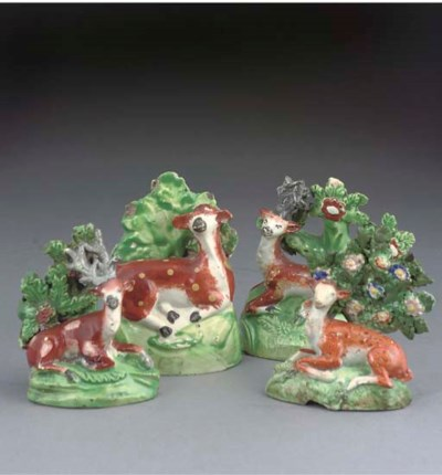 FOUR STAFFORDSHIRE POTTERY AND