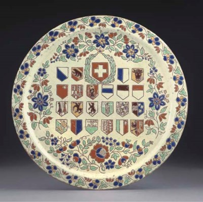 A THOUNE ARMORIAL TRAY, TWO PL