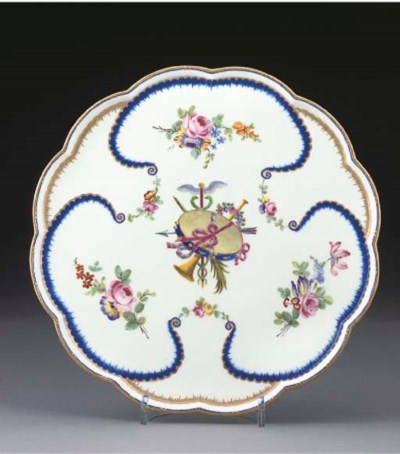 A SEVRES LOBED STAND (PLATEAU