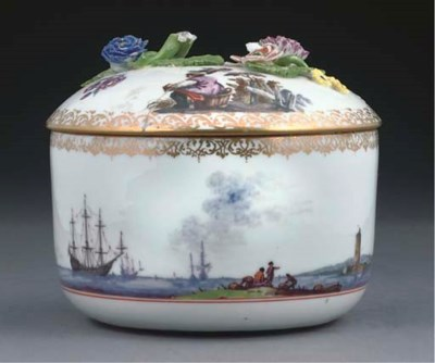 A MEISSEN SUGAR-BOWL AND A COV