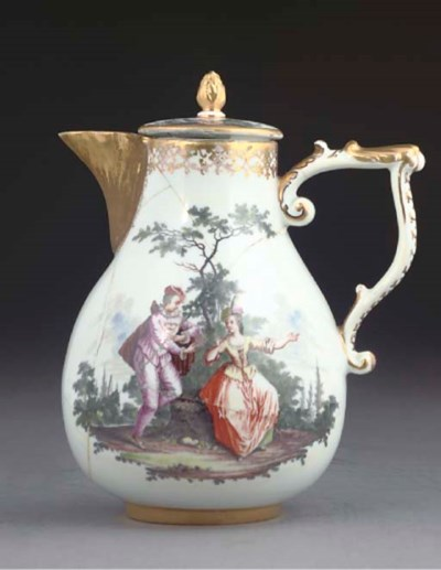A MEISSEN BALUSTER HOT-WATER J