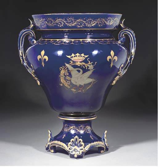 A FRENCH POTTERY DARK-BLUE-GRO