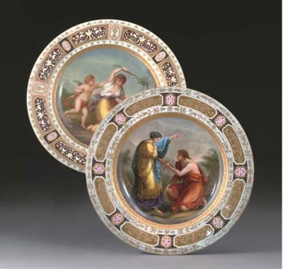 TWO VIENNA STYLE CABINET PLATE