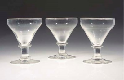 SIX CUT GLASS ROEMERS AND CUT-