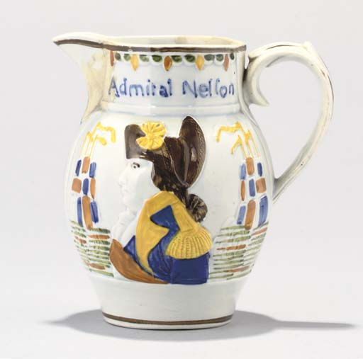 A PRATTWARE JUG OF NELSON AND