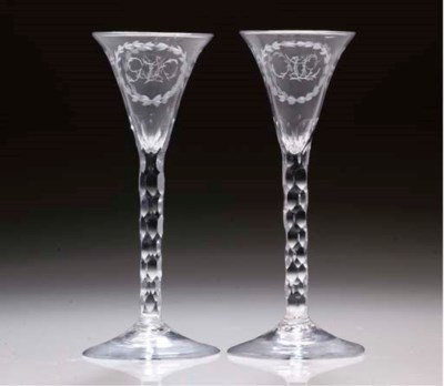A PAIR OF MONOGRAMMED ENGRAVED