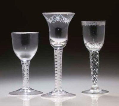 A BEILBY WINE-GLASS AND TWO OT