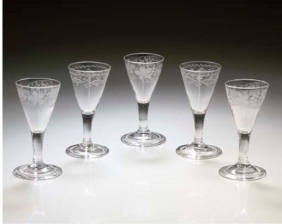 FIVE VARIOUS SMALL WINE-GLASSE