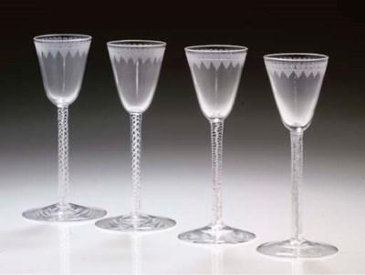 NINE OPAQUE-TWIST WINE GLASSES