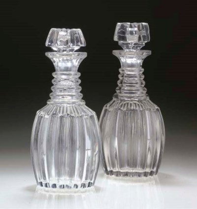 A PAIR OF CUT DECANTERS AND TW