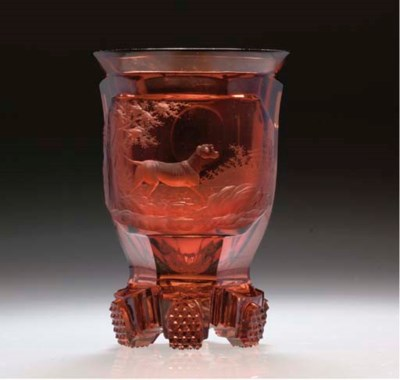 A Bohemian ruby-flash beaker
