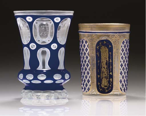 TWO BOHEMIAN BLUE AND WHITE OV