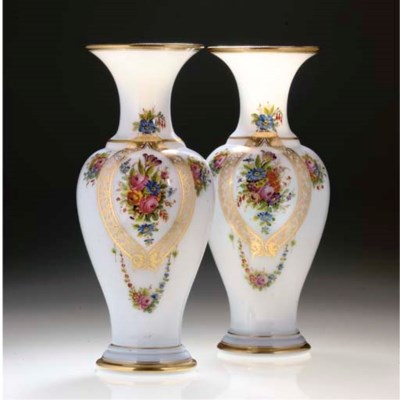 A PAIR OF WHITE OPALINE BALUST
