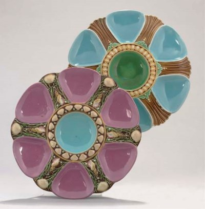 TWO MINTON MAJOLICA OYSTER DIS