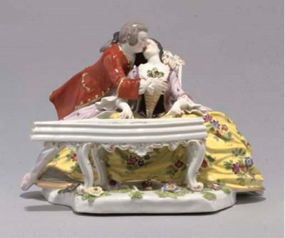 A MEISSEN GROUP OF LOVERS AT A