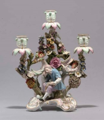 A MEISSEN THREE-LIGHT CANDELAB