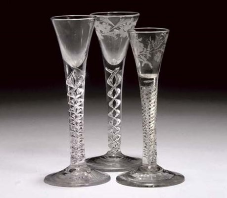TWO CORDIAL-GLASSES AND A WINE