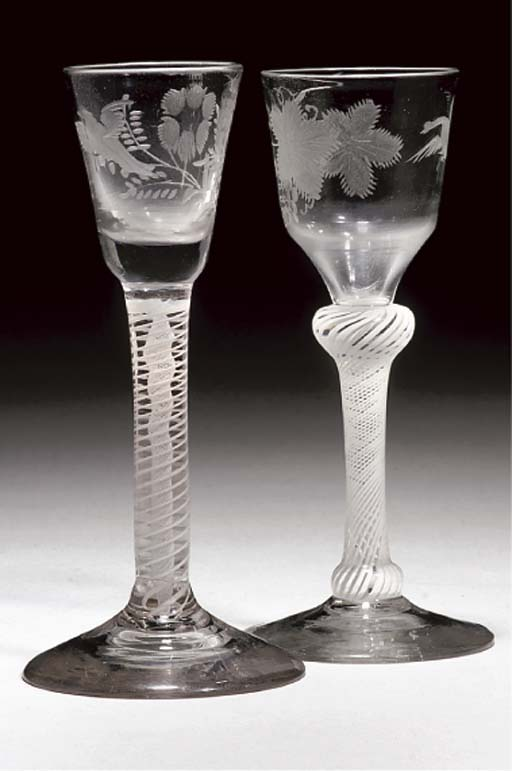 TWO ENGRAVED OPAQUE-TWIST WINE