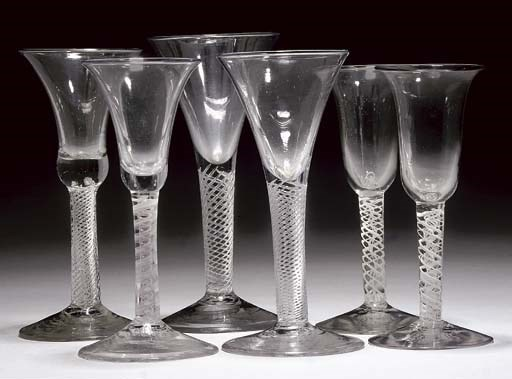 SIX VARIOUS WINE-GLASSES